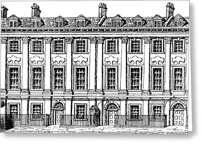 Houses Great Queen Street, 1817  Greeting Card by George the elder Scharf