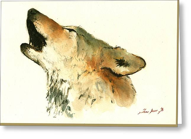Howling Greeting Cards - Howling wolf Greeting Card by Juan  Bosco
