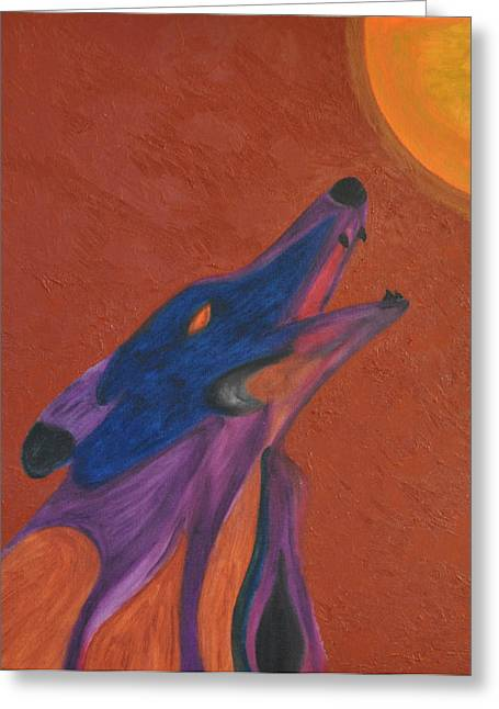 Oil Tapestries - Textiles Greeting Cards - Howling Wolf Greeting Card by Luiz