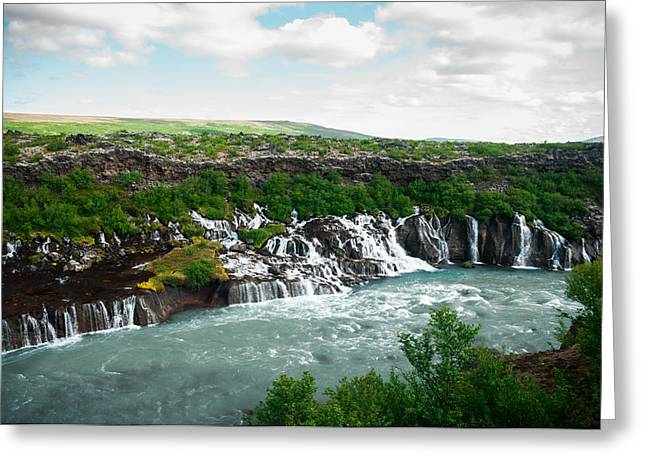Hraunfossar Greeting Card by Mirra Photography