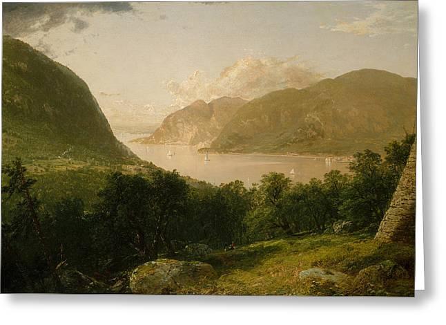 Hudson River Scene Greeting Card by John Frederick Kensett