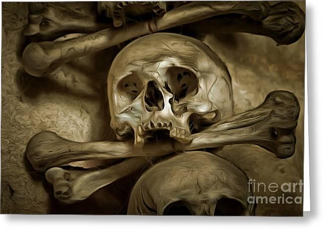 Human Skull And Bones Greeting Card