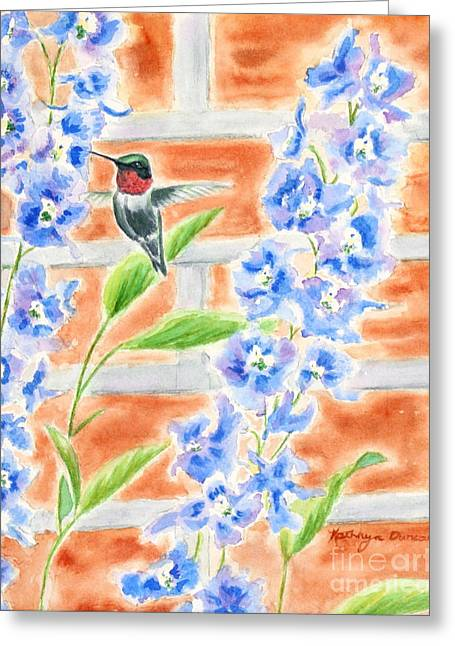 Hummer And Delphiniums Greeting Card