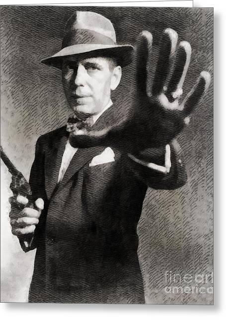Humphrey Bogart, Vintage Hollywood Legend Greeting Card by John Springfield