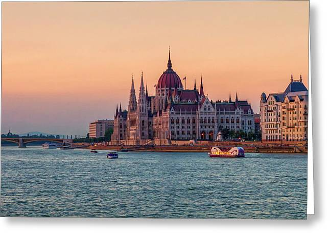 Hungarian Parliament Building In Budapest, Hungary Greeting Card by Elenarts - Elena Duvernay photo