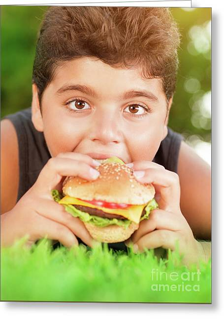 Hungry Boy Eating Burger Greeting Card by Anna Om