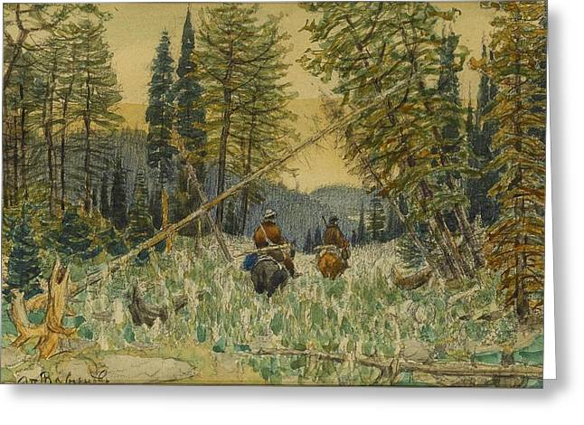 Hunters On Horseback In A Pine Forest Greeting Card by Apollinary Mikhailovich