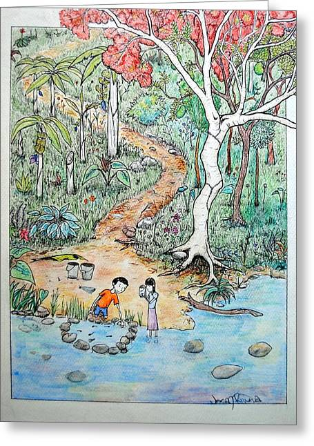 Greeting Card featuring the painting Hunting For Tadpoles by Josean Rivera