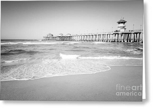 Huntington Beach Pier Black And White Photo Greeting Card