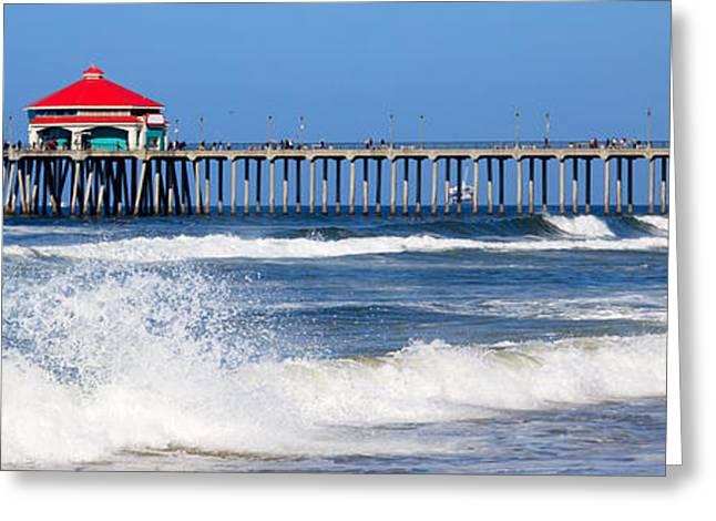 Huntington Beach Pier Panoramic Photo Greeting Card