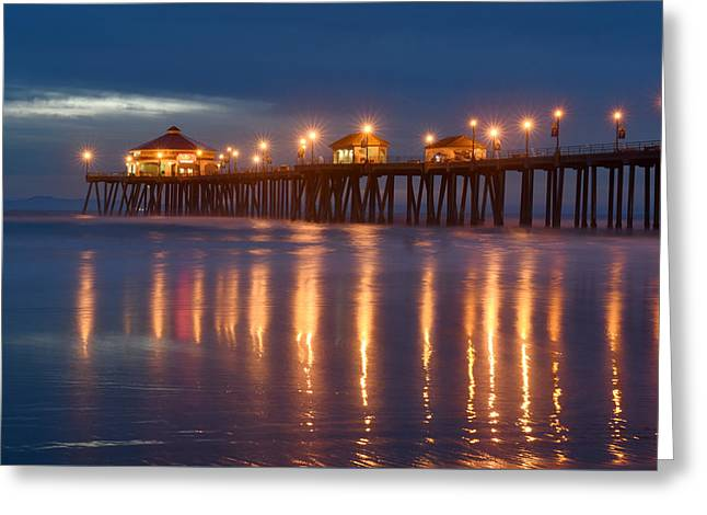 Greeting Card featuring the photograph Huntington Beach Pier At Night by Dung Ma