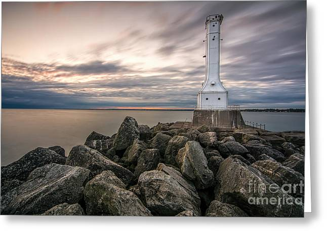 Huron Harbor Lighthouse Greeting Card by James Dean