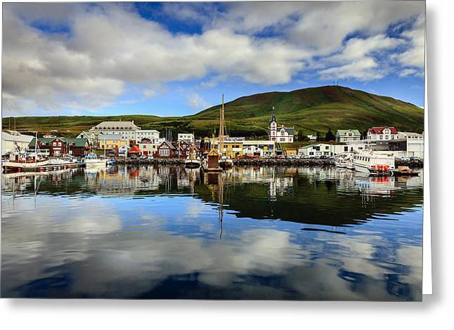 Husavik Harbor Greeting Card