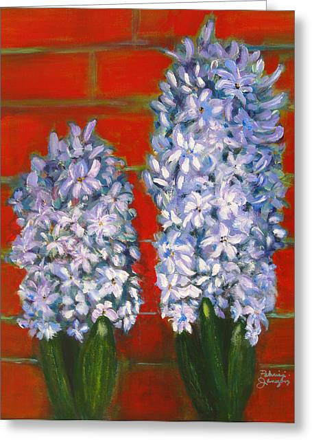 Greeting Card featuring the painting Hyacinths by Patricia Januszkiewicz