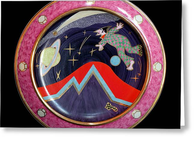 Surrealism Ceramics Greeting Cards - I and Space. Greeting Card by Vladimir Shipelyov