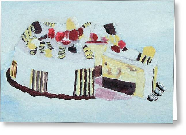 Ice Cream Cake Oil On Canvas Greeting Card