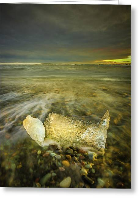 Ice In Surf At Dusk. Greeting Card by Andy Astbury