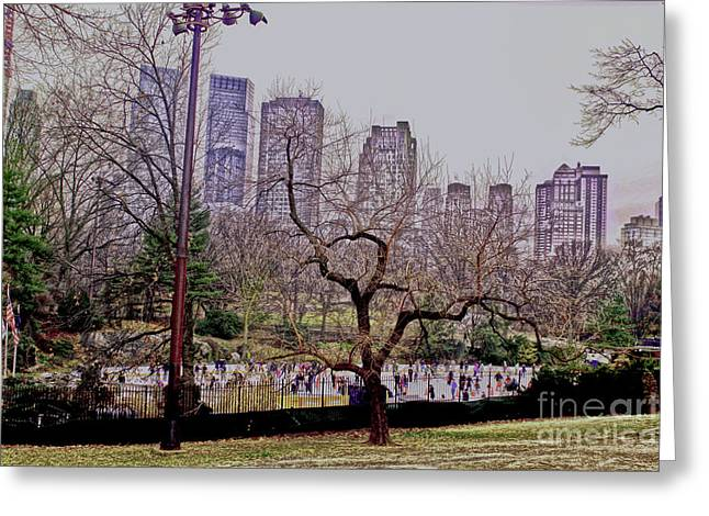 Ice Skaters On Wollman Rink Greeting Card by Sandy Moulder
