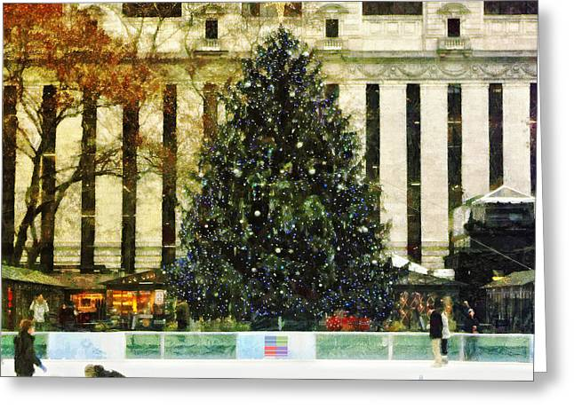 Ice Skating During The Holiday Season Greeting Card by Nishanth Gopinathan