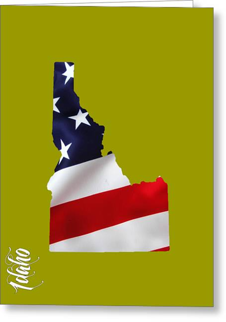 Idaho State Map Collection Greeting Card by Marvin Blaine