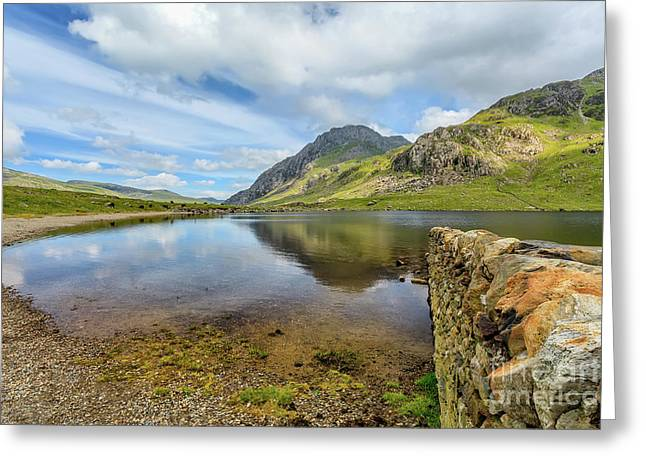 Idwal Lake Snowdonia Greeting Card by Adrian Evans
