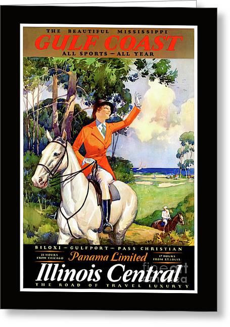 Illinois Mississippi Restored Vintage Poster Greeting Card by Carsten Reisinger