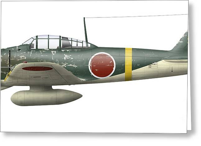 Illustration Of A Mitsubishi A6m2 Zero Greeting Card by Inkworm
