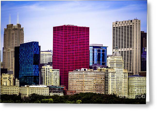 Image Of Downtown Chicago City Office Buildings Greeting Card by Paul Velgos
