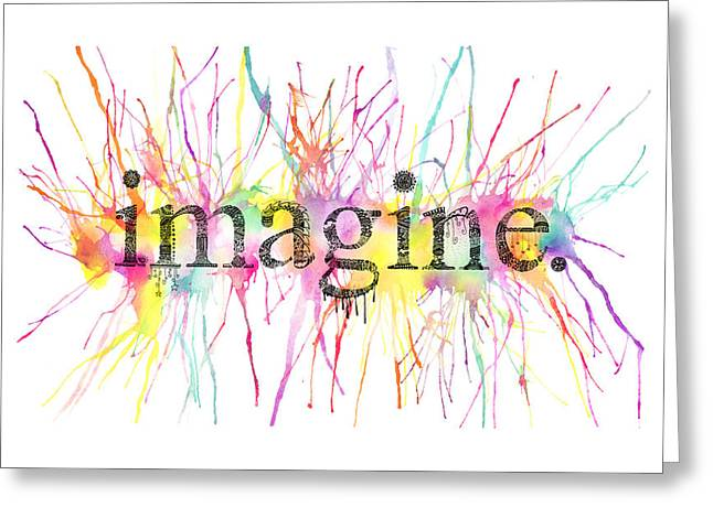 Gouache Mixed Media Greeting Cards - Imagine. Greeting Card by Kalie Hoodhood
