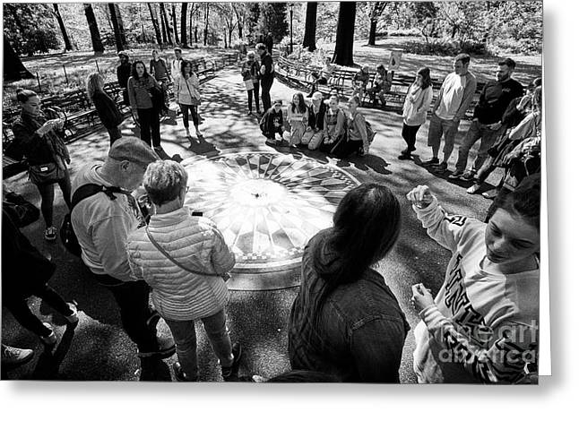 imagine mosaic dedicated to John Lennon in central park New York City USA Greeting Card