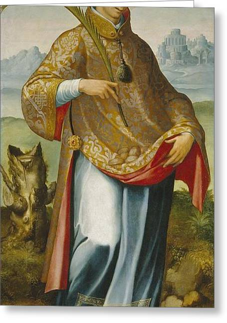 Imposition Of The Chasuble On Saint Ildefonso Greeting Card by MotionAge Designs