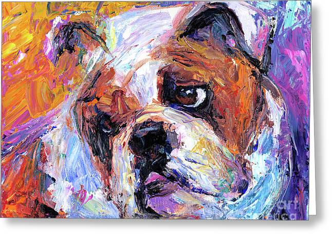 English Bulldog Portrait Greeting Cards - Impressionistic Bulldog painting  Greeting Card by Svetlana Novikova