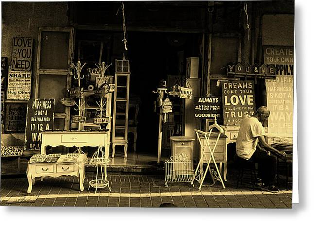 In Front Of The Antique Store Greeting Card by Unsplash