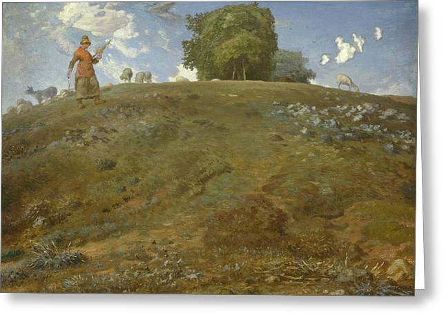 In The Auvergne Greeting Card by Jean Francois Millet