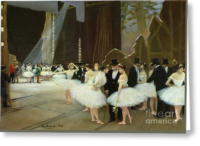 In The Wings At The Opera House Greeting Card by Jean Beraud