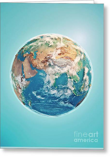 India 3d Render Planet Earth Clouds Greeting Card by Frank Ramspott