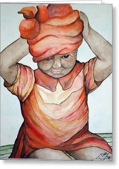Indian Girl Greeting Card by Tammera Malicki-Wong
