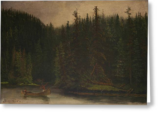 Indian Hunters In Canoe Greeting Card by Albert Bierstadt