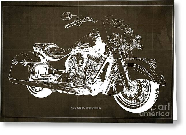 Indian Springfield 2016 Blueprint Art Vintage Background Greeting Card by Pablo Franchi