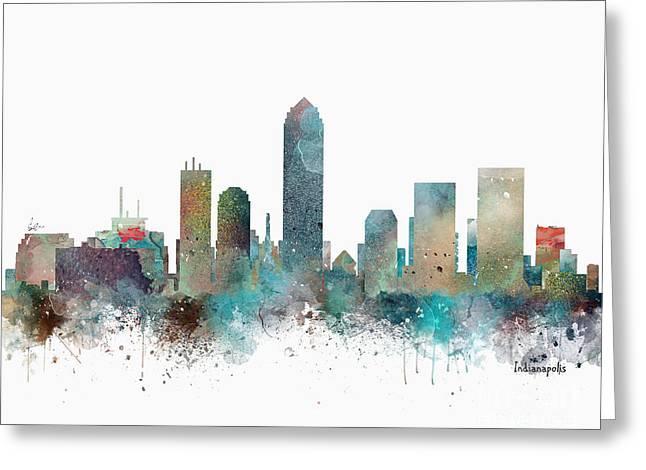 Indianapolis Indiana Skyline Greeting Card by Bri B