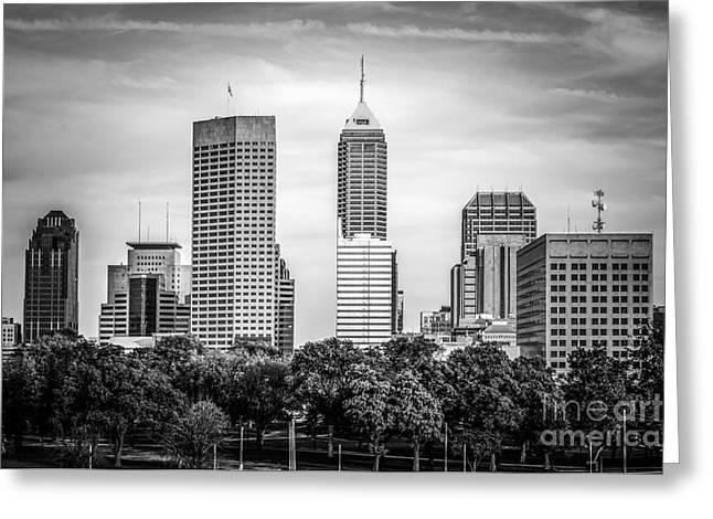 Indianapolis Skyline Black And White Picture Greeting Card