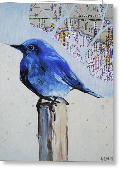 Blue Bird Greeting Card by Anne Lewis