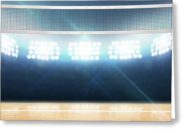 Indoor Floodlit Volleyball Court Greeting Card by Allan Swart