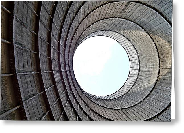 Industrial Decay Inside Cooling Tower Of Electrical Power Plant  Greeting Card by Dirk Ercken
