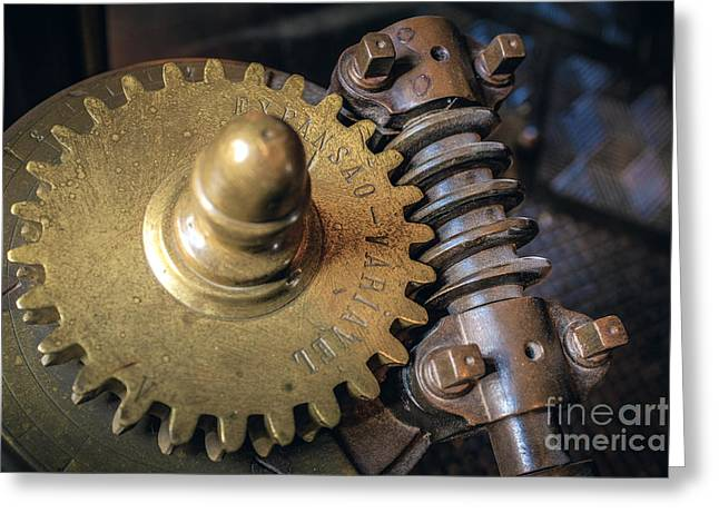 Industrial Gear Greeting Card by Carlos Caetano