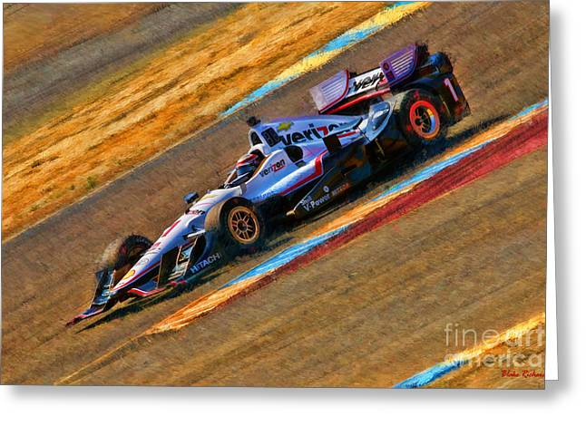 Indy Car's Will Power Greeting Card by Blake Richards