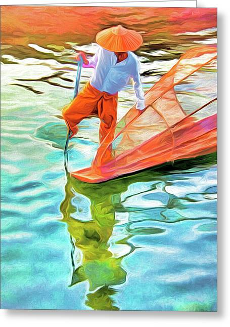 Inle Lake Leg-rower Greeting Card by Dennis Cox