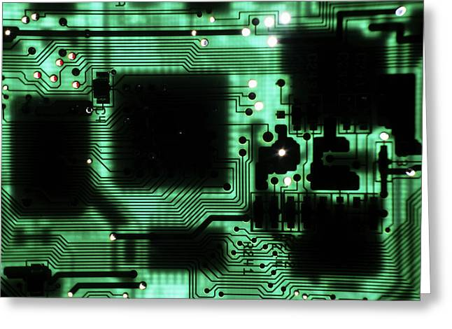 Sami Sarkis Photographs Greeting Cards - Integrated circuit board from a computer Greeting Card by Sami Sarkis