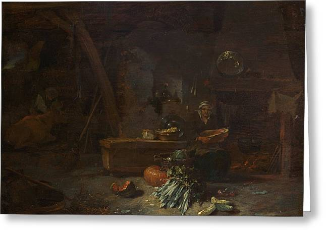 Interior Of A Kitchen Greeting Card by Willem Kalf
