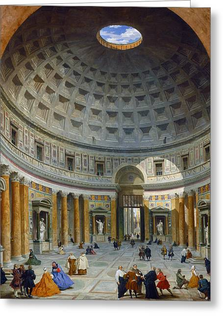 Interior Of The Pantheon, Rome Greeting Card by Giovanni Paolo Panini